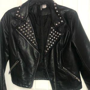Black Studded Faux Leather Jacket
